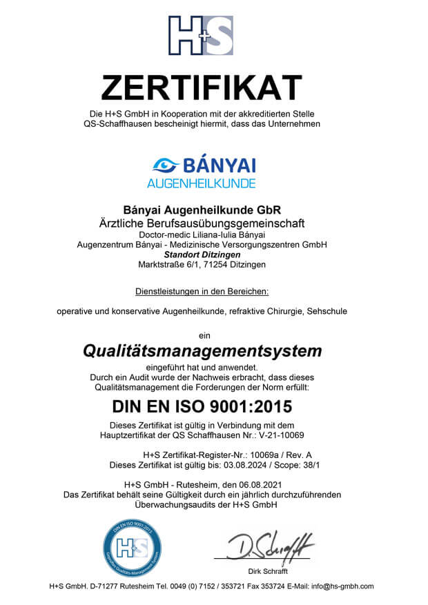 DIN ISO Zertifizierung - Ditzingen Augen lasern