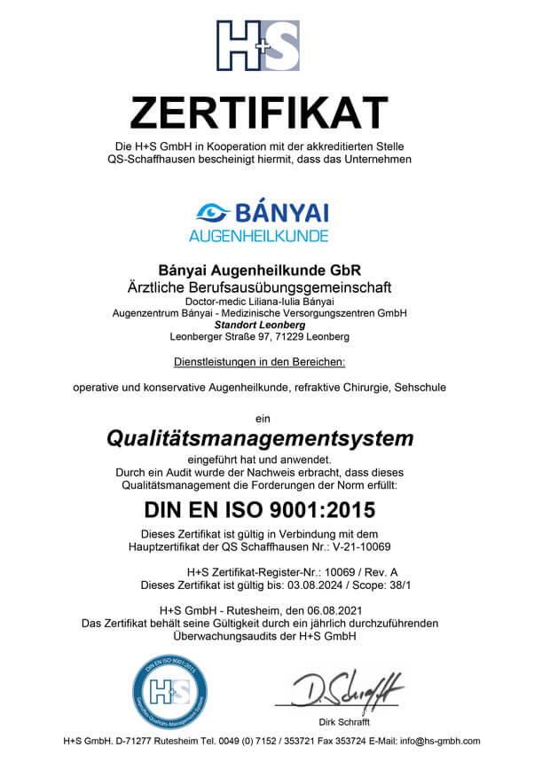 DIN ISO Zertifizierung - Leonberg Augen lasern